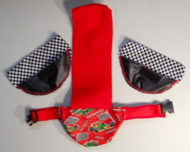 Race Car Duck Diapers with black and white flag print liners Duck Diaper Holder Harness