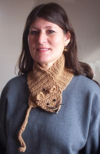 Marna with rat scarf and earrings 2008