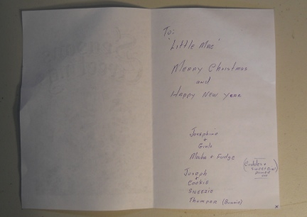 Little Mac's Christmas Card 2001 = inside