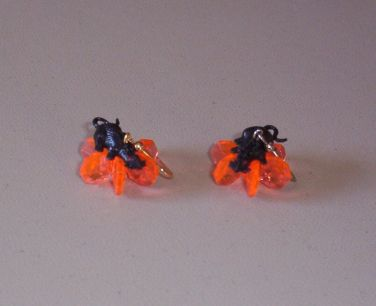 Black Rat w/ Orange Cluster Earrings