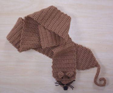 Long Brown Crochet Rat Scarf